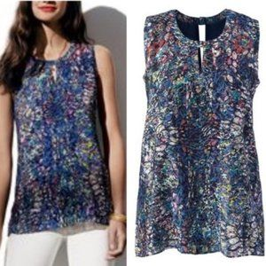 Cabi Stainless Glass Sleeveless Blouse Small Blue